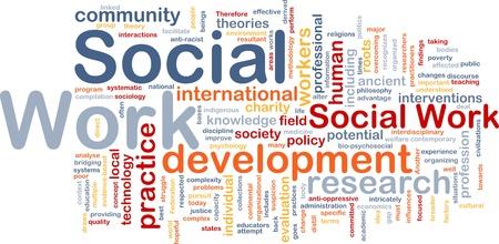 arbeiten: Hintergrund Konzept Wordcloud Abbildung der sozialen Arbeit