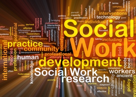 social work: Background concept wordcloud illustration of social work glowing light
