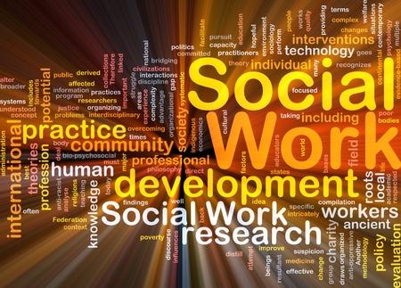 trabajo social: Ilustración de wordcloud concepto de fondo de la luz brillante trabajo social