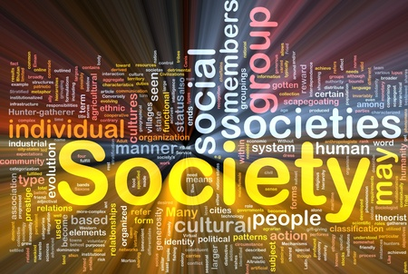 Background concept wordcloud illustration of society glowing light Stock Illustration - 9914821
