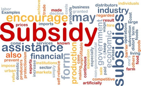 Background concept wordcloud illustration of subsidy illustration