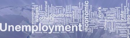 downturn: Word cloud concept illustration of unemployment work international Stock Photo