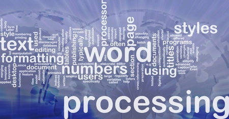 Word cloud concept illustration of word processing international illustration