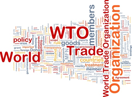 bindings: Background concept wordcloud illustration of world trade organization Stock Photo
