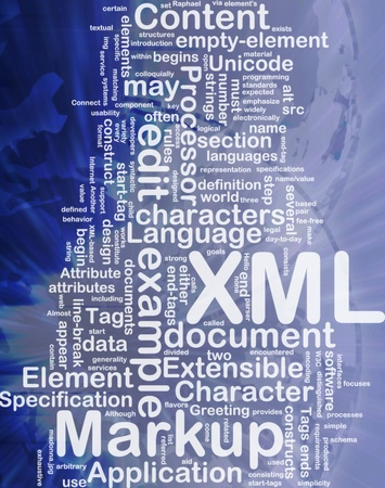 xml: Word cloud concept illustration of XML markup language international Stock Photo
