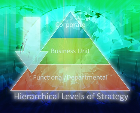 departmental: Hierarchical Strategy pyramid business management international concept diagram illustration Stock Photo