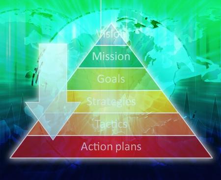 jerarquia: Estrategia mundial brillante pir�mide de gesti�n de procesos empresariales concepto de diagrama de la ilustraci�n