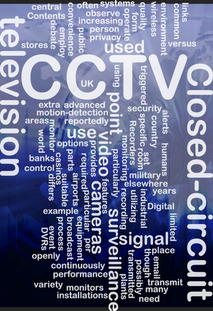 closed circuit television: Word cloud concept illustration of CCTV surveillance cameras international Stock Photo