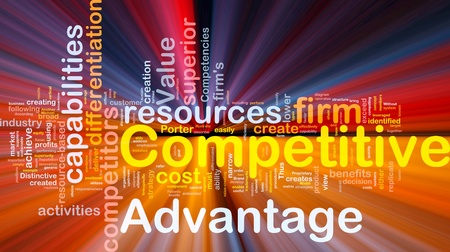 competitive: Background concept wordcloud illustration of business competitive advantage glowing light