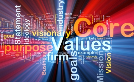 core strategy: Background concept wordcloud illustration of business core values glowing light