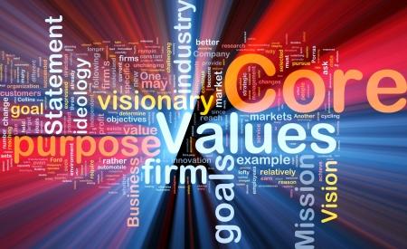 dichiarazione: Concetto illustrazione Background wordcloud del core business valori di luce incandescente