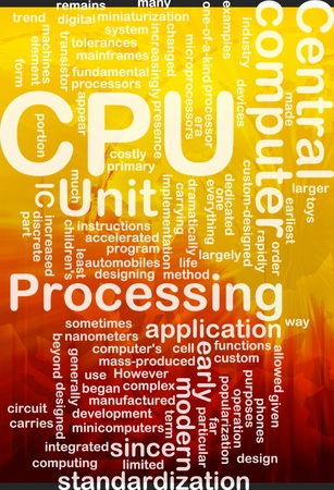 Word cloud concept illustration of computer CPU international illustration