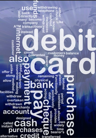 debit: Word cloud concept illustration of debit card international Stock Photo