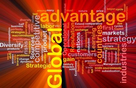 Background concept wordcloud illustration of business global advantage glowing light illustration
