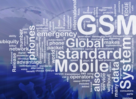 roaming: Word cloud concept illustration of phone GSM international