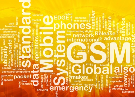 gsm: Word cloud concept illustration of phone GSM international