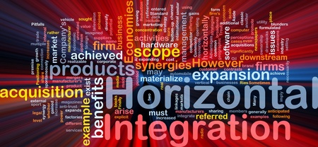 synergies: Background concept wordcloud illustration of business horizontal integration glowing light