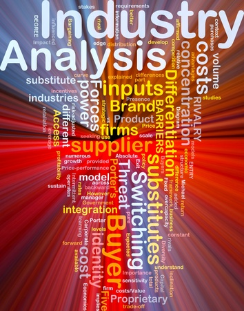 Background concept wordcloud illustration of business industry analysis glowing light illustration