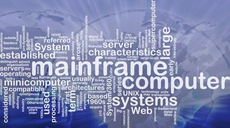 mainframe: Word cloud concept illustration of mainframe computer international