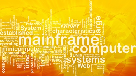 minicomputer: Word cloud concept illustration of mainframe computer international
