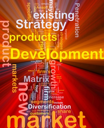 potential: Background concept wordcloud illustration of new market development glowing light