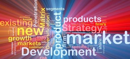 Background concept wordcloud illustration of new market development glowing light illustration