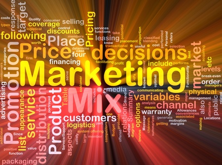 wordcloud: Background concept wordcloud illustration of marketing mix strategy glowing light