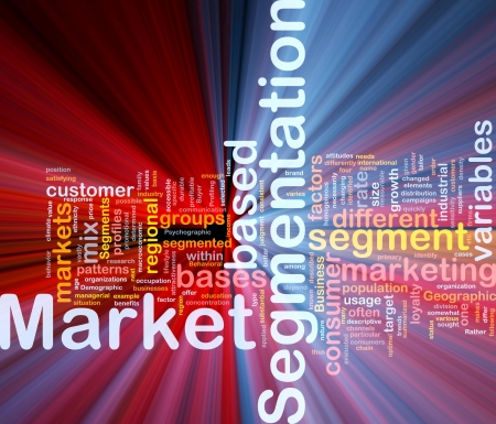 marketing mix: Background concept wordcloud illustration of business market segmentation glowing light