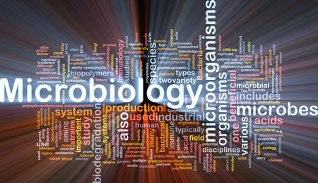 microbes: Background concept wordcloud illustration of microbiology science   microorganisms glowing light