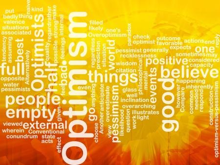 optimismo: Ilustraci�n de concepto de nube de palabra de optimista optimismo internacional