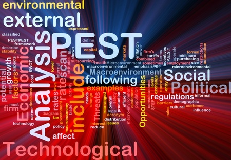 population growth: Background concept wordcloud illustration of business PEST analysis glowing light Stock Photo