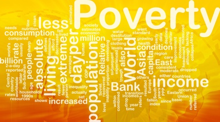 moderate: Word cloud concept illustration of income poverty international