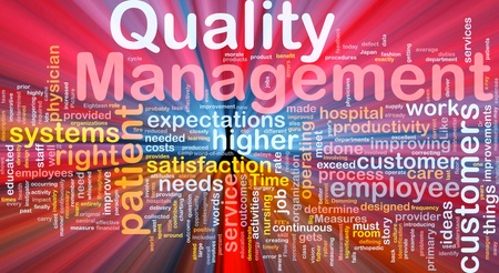 Background concept illustration of business quality management glowing light Stock Photo
