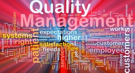 Hintergrund Konzept von Business Qualität Management glühenden Licht