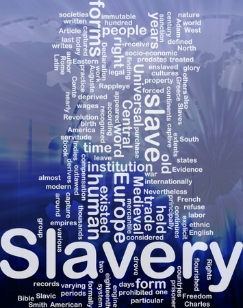 captives: Word cloud concept illustration of human slavery international