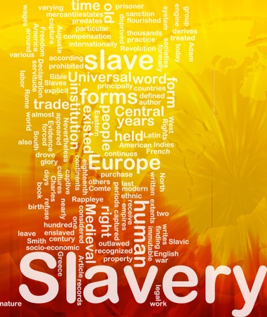 Word cloud concept illustration of human slavery international Stock Illustration - 9914882
