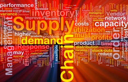 Background concept wordcloud illustration of business supply chain glowing light illustration