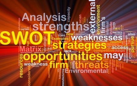 environmental analysis: Background concept wordcloud illustration of business SWOT analysis glowing light Stock Photo