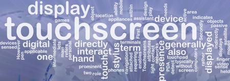 indirectly: Word cloud concept illustration of touchscreen technology international Stock Photo