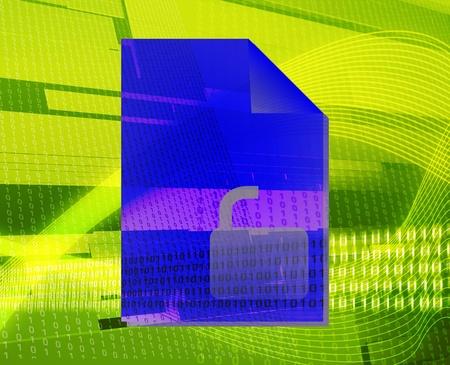 Document user unlocked security types concept background illustration illustration