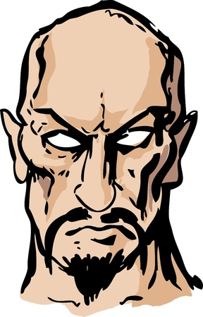 sinister: Evil sinister cruel goateed satanic man with goatee, hand-drawn illustration  Stock Photo