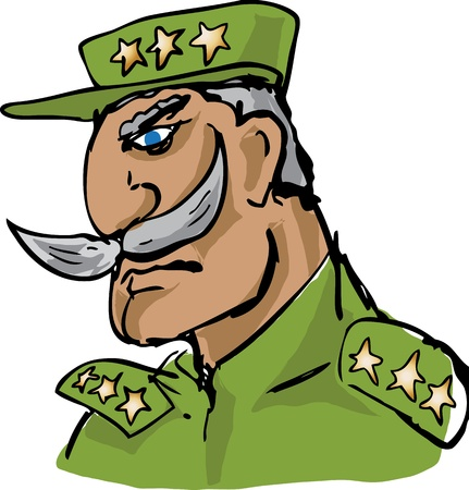 cynical: Old military army general officer with impressive mustache, hand-drawn illustration