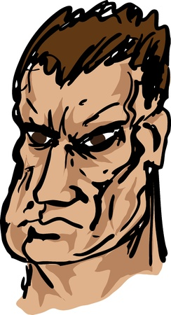 brutish: Tough, brutish, square-jawed rough mean looking guy, hand-drawn illustration
