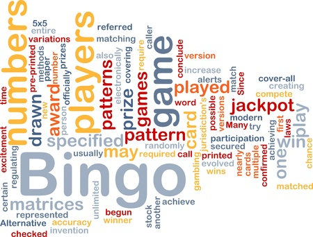 Background concept wordcloud illustration of bingo game pattern illustration