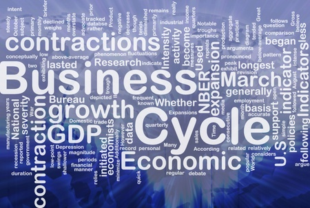 Background concept wordcloud illustration of economic business cycle international