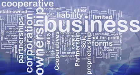 Background concept wordcloud illustration of business corporation ownership international Stock Illustration - 9915042