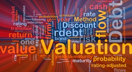 valuation: Background concept wordcloud illustration of debt valuation finance glowing light
