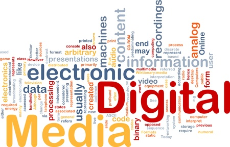 digital distribution: Background concept wordcloud illustration of electronic digital media Stock Photo