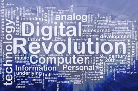 analogs: Background concept wordcloud illustration of digital revolution international