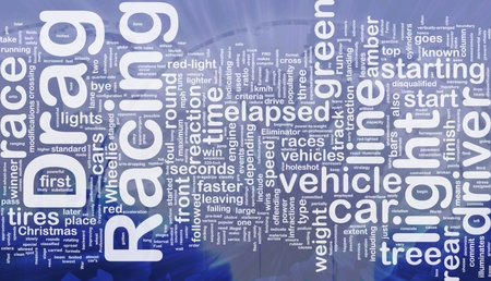 elapsed: Concept diagram wordcloud illustration of drag racing race international Stock Photo